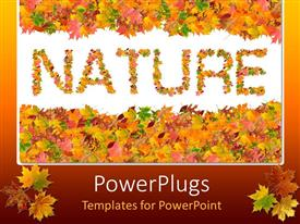 PowerPoint template displaying fall leaves spelling out the word nature, autumn color border