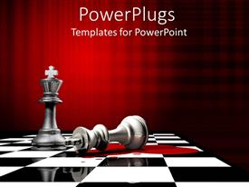 PowerPlugs: PowerPoint template with fallen king chess piece beside upright piece, black and white chess board, red background