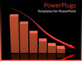 PowerPoint template displaying falling of the bar chart with black background