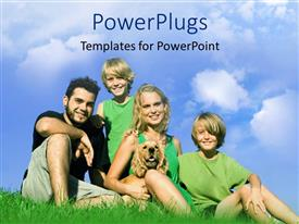 PowerPoint template displaying family of 4 with dog smiling on grass with blue sky background, happiness, mother, father, boys, kids, children