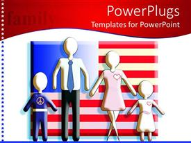 PowerPoint template displaying a family with American flag in the background