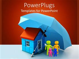 PowerPlugs: PowerPoint template with a family beneath an umbrella and a house with red background