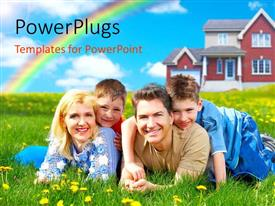 PowerPlugs: PowerPoint template with a family with a building in the background