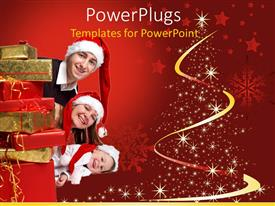 PowerPoint template displaying a family celebrating Christmas along with gifts