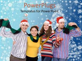 PowerPoint template displaying a family celebrating the Christmas with stars in the background