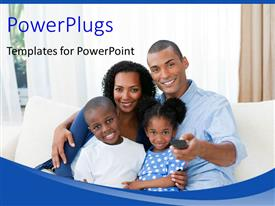 PowerPlugs: PowerPoint template with a family with curtains in the background