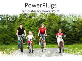 PowerPoint template displaying a family cycling together on a road with green background
