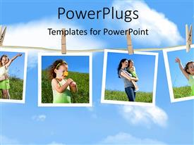 PowerPlugs: PowerPoint template with family depictions hanging on a clothesline against a blue sky