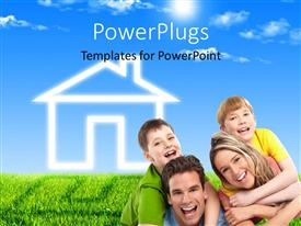 PowerPlugs: PowerPoint template with a family with  design of a house in the background