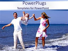 PowerPlugs: PowerPoint template with a family enjoying on the beach with their child
