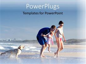 PowerPoint template displaying a family enjoying on the beach with their dog