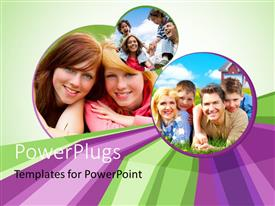 PowerPoint template displaying family enjoying holidays with green color