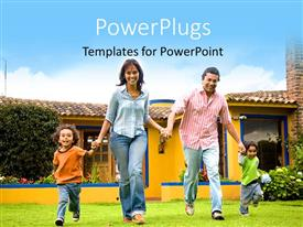 PowerPlugs: PowerPoint template with a family enjoying in the lawn with house in background