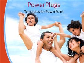 PowerPoint template displaying a family enjoying together with clouds in the background