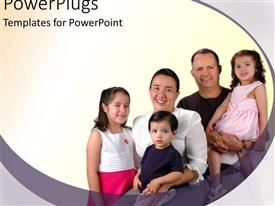 PowerPlugs: PowerPoint template with family of five posing for a picture and smiling happily