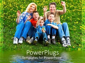 PowerPlugs: PowerPoint template with a family of five smiling happily and sitting on grass
