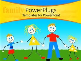 PowerPlugs: PowerPoint template with a family of four cartoon characters on a green field