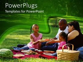 PowerPlugs: PowerPoint template with family of four enjoying picnic with fruits and drinks in park