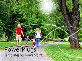 PowerPlugs: PowerPoint template with family with four small children walking down pleasant park path