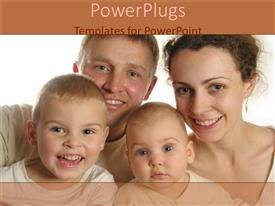 PowerPlugs: PowerPoint template with family of four smiling happily on a white background