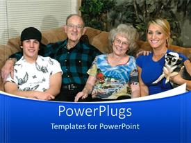 PowerPlugs: PowerPoint template with family of four all smiling and sitting together on a couch