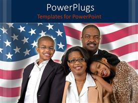 PowerPlugs: PowerPoint template with a family of four smiling on a usa flag background