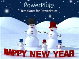 PowerPlugs: PowerPoint template with family of four snowmen wearing caps with a Happy New Year text