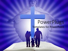 PowerPoint template displaying family of four walking on a Bible with a cross