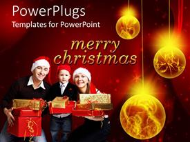 PowerPoint template displaying family of four wearing Christmas caps with gifts and ornaments