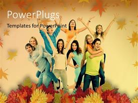 PowerPoint template displaying a family happy in the fall season with leaves in background