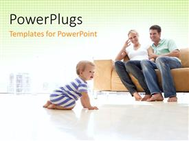 PowerPlugs: PowerPoint template with a family happy to see their kid and yellowish background