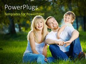 PowerPlugs: PowerPoint template with family having fun in garden with nature & greenery