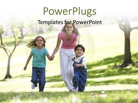 PowerPlugs: PowerPoint template with family having fun in the park with trees