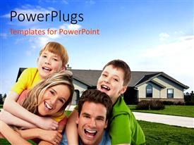 PowerPlugs: PowerPoint template with a family with a house in the background