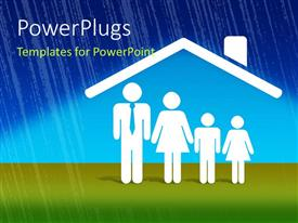 PowerPlugs: PowerPoint template with a family with the house i the background on a rainy day