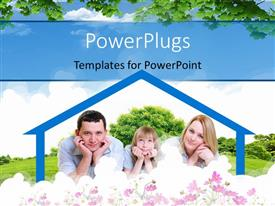 PowerPlugs: PowerPoint template with a family with the house shape frame