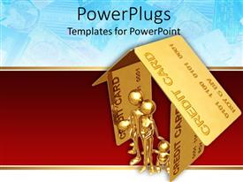PowerPlugs: PowerPoint template with a family inside a house made of credit cards