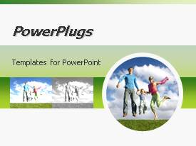 PowerPlugs: PowerPoint template with a family jumping in the air because of happiness