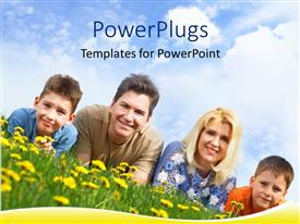 PowerPoint template displaying a family lying on grass bed with a lot of flowers