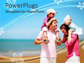 PowerPlugs: PowerPoint template with family with mother, father, boy and baby girl at the beach, vacation, travel