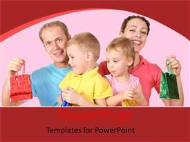 PowerPoint template displaying a family with a number of gifts and pinkish background