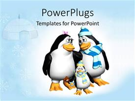 PowerPoint template displaying family of Penguins at winter with hut and snowflakes in background