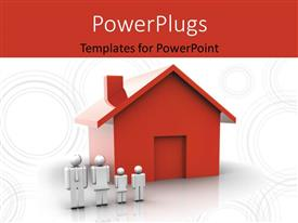 PowerPlugs: PowerPoint template with family people standing near a red house with circles