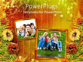 PowerPlugs: PowerPoint template with family photographs on fall color background with flowers and leaves