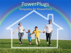 PowerPoint template displaying a family running on the field with clear sky in the background