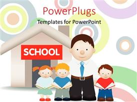 PowerPlugs: PowerPoint template with a family with a school in the background