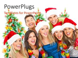 PowerPoint template displaying a family of seven dressed for Christmas smiling happily