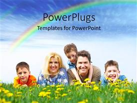 PowerPlugs: PowerPoint template with a family sitting in the field with rainbow in background