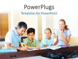 PowerPlugs: PowerPoint template with family sitting together and doing homework with room