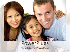 PowerPlugs: PowerPoint template with family of three with American father and Asian mom